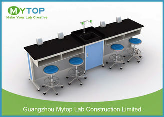 Steel And Wood C Frame Physics Laboratory Furniture For Student With 4 Seat