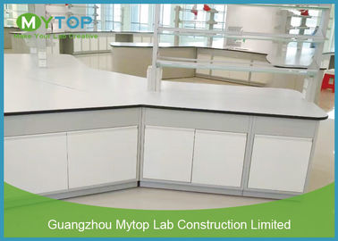 Steel Structure Science Modular Laboratory Furniture , Lab Island Table with Cabinets